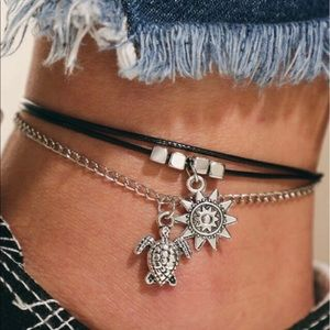 Jewelry - Sea Turtle & Sun Layered Anklet